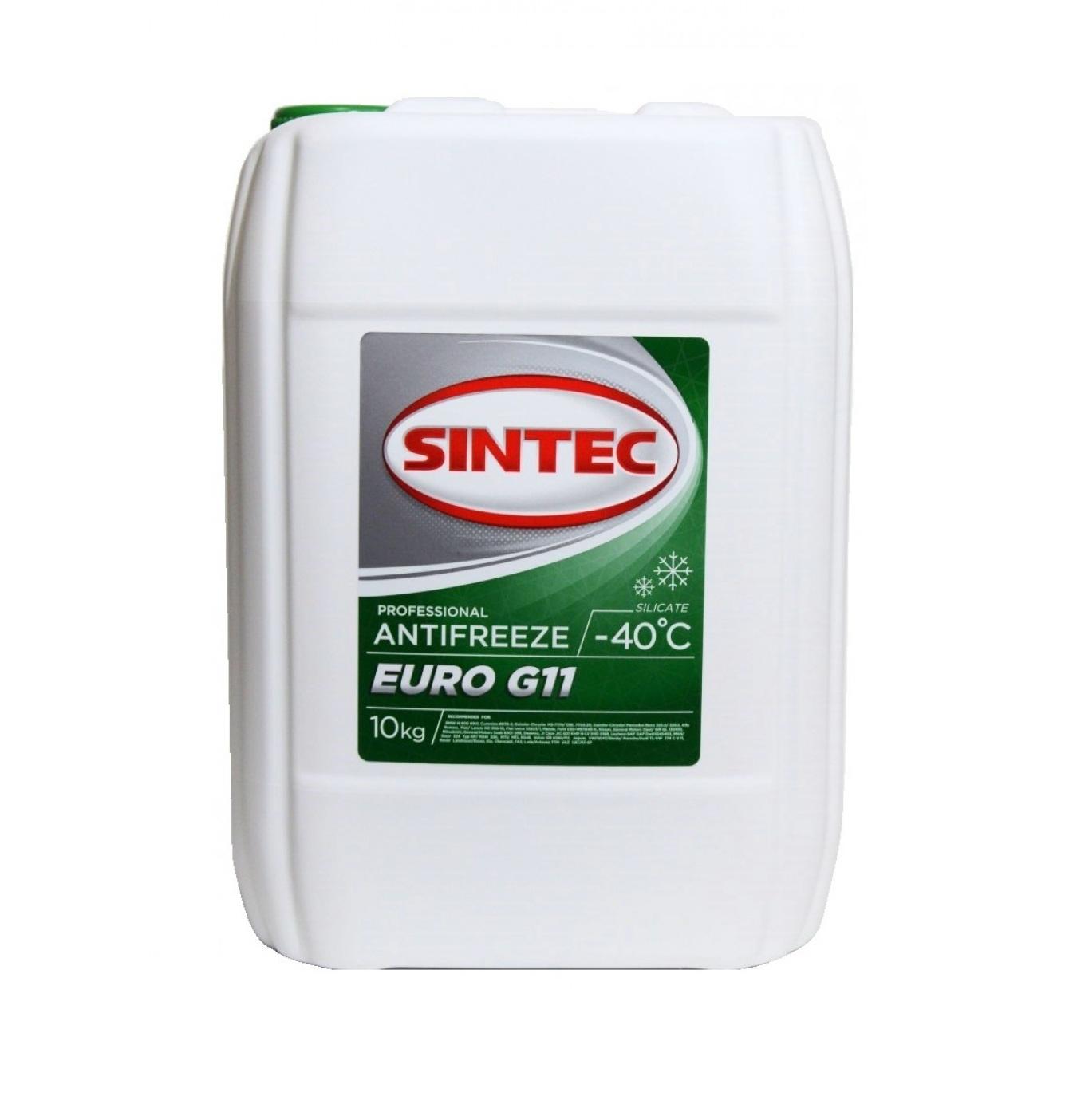 Sintec ANTIFREEZE EURO (зеленый) G11 (10 кг)