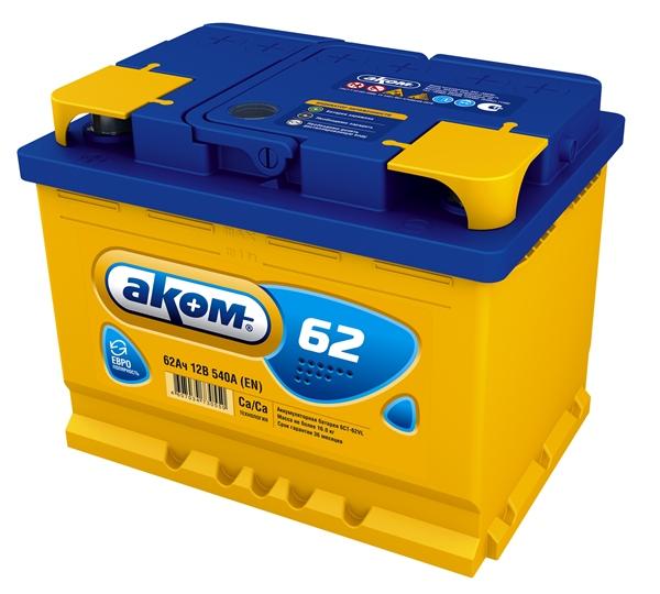 Аккумулятор Аком 62Ah/540 прав.+ /242x177x190/