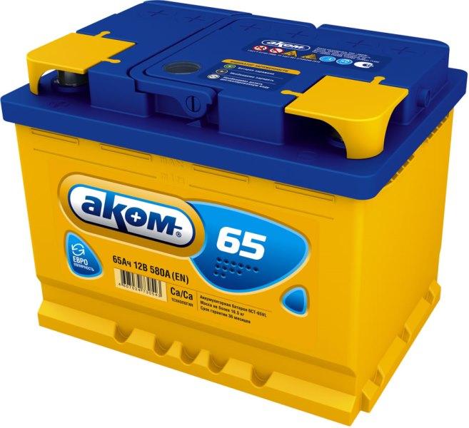 Аккумулятор Аком 65Ah/580 прав.+ /242x177x190/