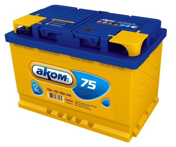 Аккумулятор Аком 75Ah/700 лев.+ /275x177x190/